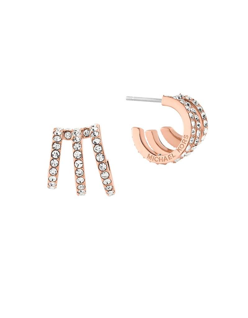 eb3a5c7ef55e Michael Kors Modern Brilliance Cubic Zirconia Rose Goldtone Hoop Earrings  ( 75)