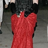 Hilary Duff donned a sultry red and black dress, which added the final touch to her creepy Día de los Muertos costume.