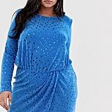 Flounce London Plus Sequin Mini Dress in Cobalt Blue