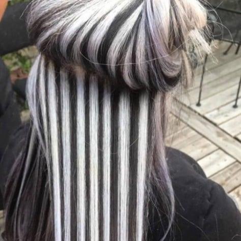 Chunky Black-and-White Highlights Cruella de Vil Hair 2017