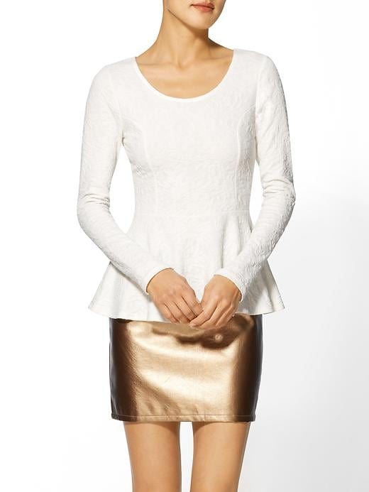This BCBG Max Azria Everly clothing brocade knit peplum top ($49) was made for dressing up with a statement necklace.