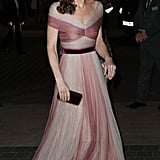 February: Kate looked pretty in pink as she attended the 100 Women in Finance gala dinner.