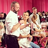 Lead makeup artist Dick Page chatted while Karlie Kloss sat in his chair. Source: Instagram user crazypretty