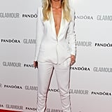 Abbey Clancy was daring in a white trouser suit.