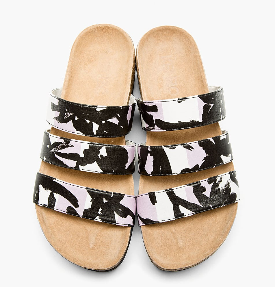 Kenzo Purple-Printed Triple Strap Sandals