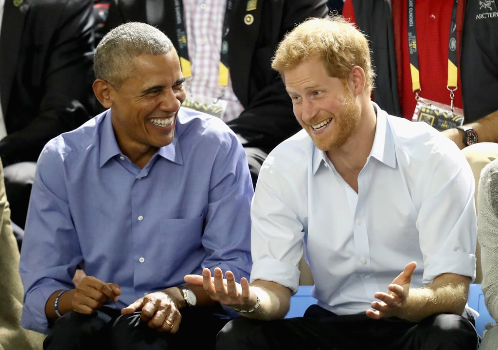Barack Obama's friendship with the British royals first blossomed during his US presidency, and even though we love seeing him with Prince William and the Duchess of Cambridge, Barack seems to have formed a particularly special bond with Prince Harry. The two have hung out at a handful of official events in the past, and Harry has even gotten tight with Barack's wife, Michelle. Most recently, Barack and Harry were the two best friends that anyone could have when they attended a wheelchair basketball game during the Invictus Games in Canada. Listen, we're not trying to start any drama, but if we were Joe Biden, we'd be a little jealous.