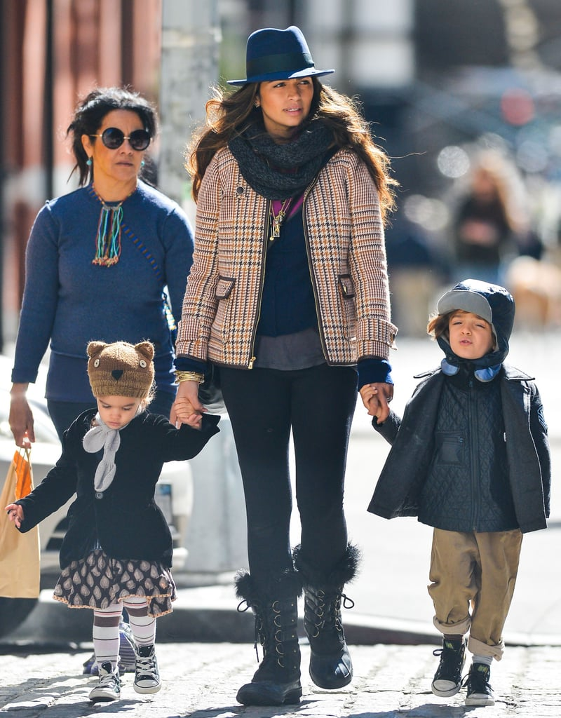 Camila Alves wore a plaid jacket for a stroll around NYC with Levi and Vida.
