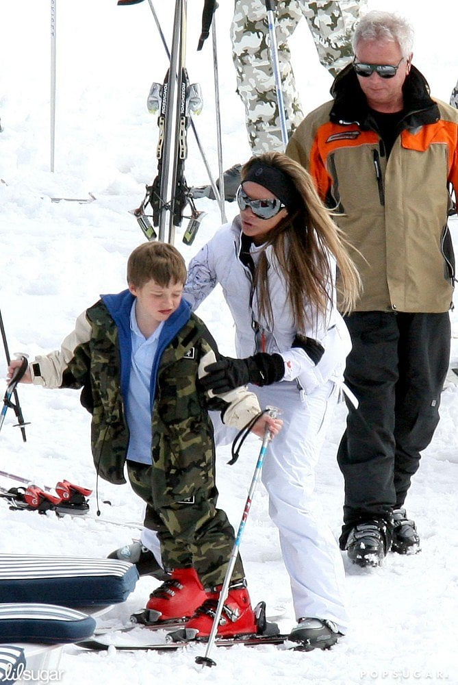 Victoria Beckham helped a 7-year-old Brooklyn with his skiing during a Courchevel, France, ski trip in April 2006.