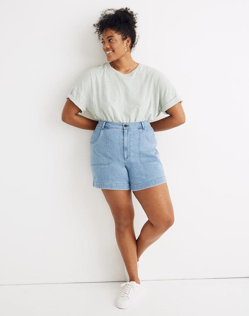 Madewell High-Rise Cuffed Denim Shorts in Light Indigo
