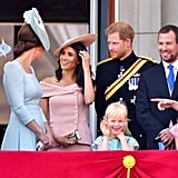 The three women could be seen joking and laughing on the Buckingham Palace balcony all throughout the ceremony.