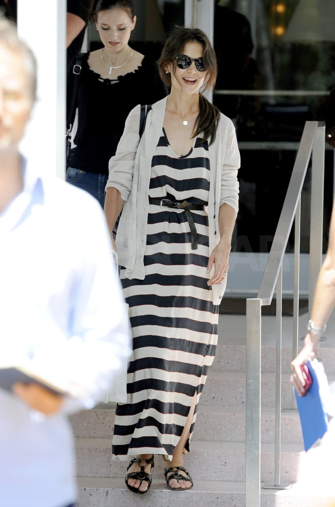 Katie Holmes was spotted leaving her favorite lunch spot in Miami today following yesterday's brief trip out of town with Suri. The mother-daughter duo chartered a private jet for their getaway, but by this morning Katie was back to rolling solo in the Florida city. Katie and Suri have been exploring the beaches and local malls in the Sunshine State while Tom Cruise has been flashing his abs and jamming out on the Rock of Ages set. Tom was lucky to spend Father's Day weekend with his girls, but he's not the only one receiving visitors on location. Katy Perry slipped into a bikini earlier this week while dropping in on her husband, Russell Brand, and Ryan Seacrest flew in recently to hang with his long-term girlfriend, Julianne Hough.