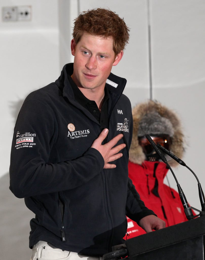 "Prince Harry reunited with his Walking With the Wounded teammates for a media event in London today. Harry spent four days with the charitable group, who are raising money for injured soldiers with their trek, in the North Pole earlier this month. The prince gave an emotional speech about his time with the crew saying, ""What these guys have done and what they will continue to do in their lives, is truly inspirational. Not just for servicemen and women, injured or not injured, but members of the general public."" It's the start of a huge week for Harry and his family, with the royal wedding just three days away. Prince Harry isn't the one walking down the aisle this time, but he still has a huge responsibility, including a best man's speech at the breakfast after the ceremony.  for those who manage to party all the way through til 6 a.m. on Saturday. As for a date, Harry is reportedly bringing his on-again, off-again girlfriend Chelsy Davy. There is a frenzied level of excitement all over the world ahead of the royal wedding, and we'll be broadcasting the whole thing live with commentary here on PopSugar!"