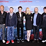 Rhys Ifans, Marc Webb, Andrew Garfield, Emma Stone, Avi Arad, and Matt Tolmach got together at the Berlin photocall for The Amazing Spider-Man.