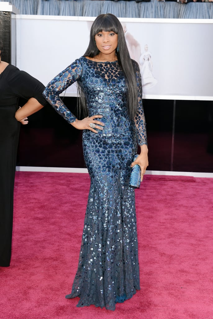 Jennifer Hudson wore a sparkly blue gown on the Oscars red carpet.