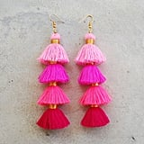 Four Layered Ombre Pink Tassel Earrings