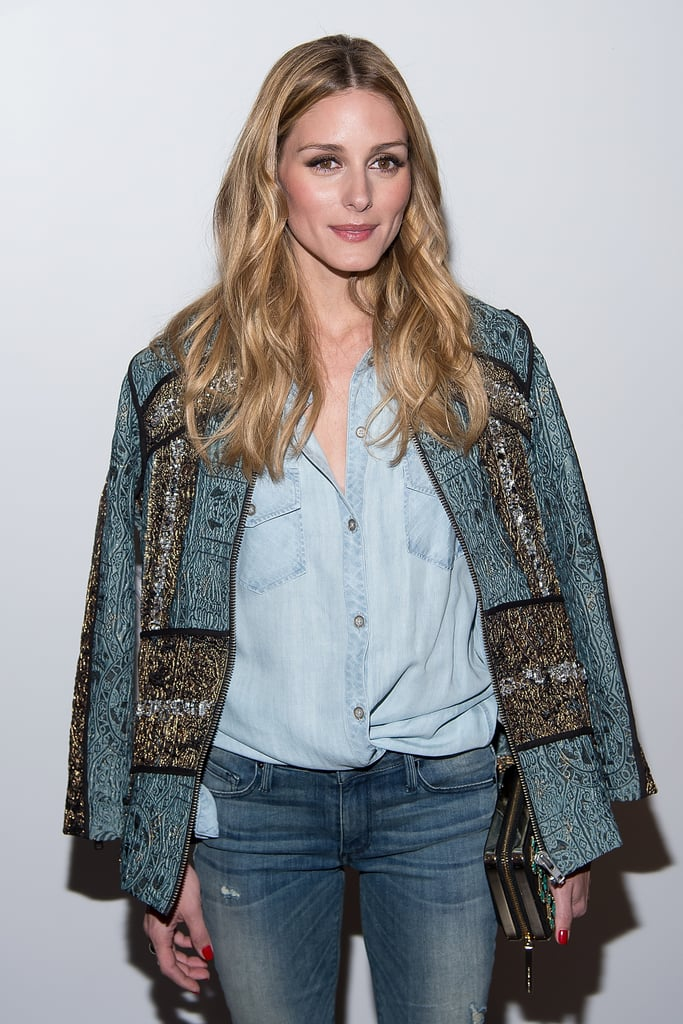 Olivia mastered the denim-on-denim look with the help of an embroidered jacket, which she hung over her Rails Tyson Light Vintage Wash shirt ($178).