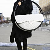Marie Claire editor Kyle Anderson toted Chanel's hula hoop all around NYFW.