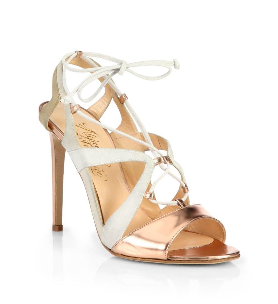 Alejandro Ingelmo Franca Metallic Leather and Suede Sandals ($998)