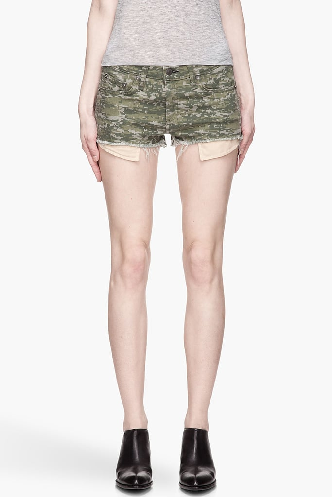 The quickest way to add cool to your bottom half is via these Rag & Bone camouflage cutoffs ($155). Either take them casual with a simple tank and sandals, or go sexy for nighttime with an unexpected silk blouse and blazer.