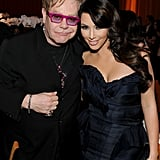 Kim Kardashian posed with Elton John during his annual Oscars-viewing party in LA in February 2011.