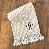 Cathy's Concepts Personalized Taupe Herringbone Throw