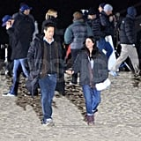 Pictures of Courteney Cox Filming Cougar Town With Josh Hopkins and Dan Byrd
