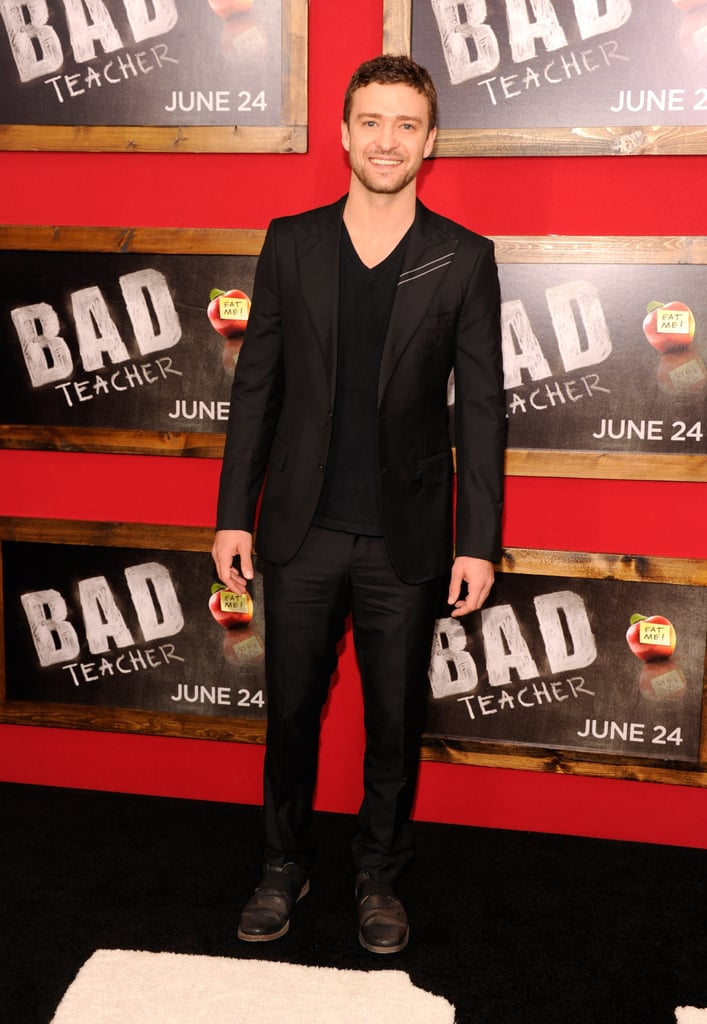 Bad Teacher, great suit! Justin went dark for his 2011 premiere.