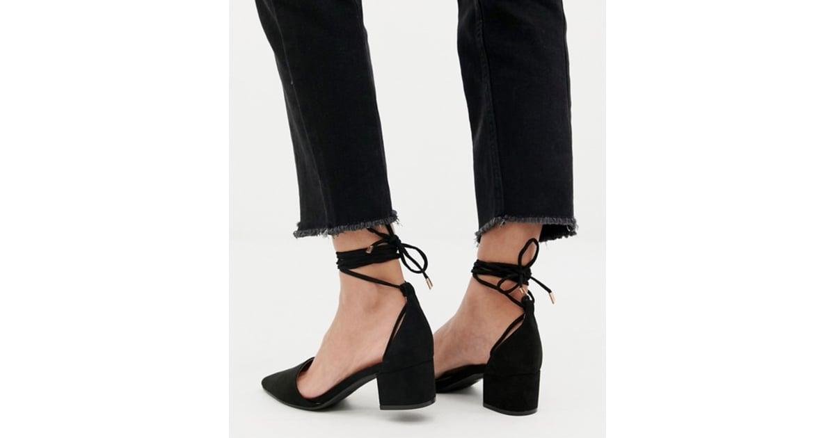ea2c2338323b RAID Lucky Black Ankle Tie Heels