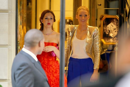 "Leighton Meester and Blake Lively film some glamorous scenes for ""Gossip Girl"" on location in France's fashion capital, Paris."