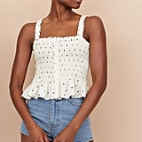 H&M Smocked Linen-Blend Top