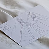 """Dior shared a sketch of Angelababy's wedding dress, writing, """"Before a group of talented petites mains created her superb wedding dress, a pattern maker translated Angelababy's desires onto paper."""""""