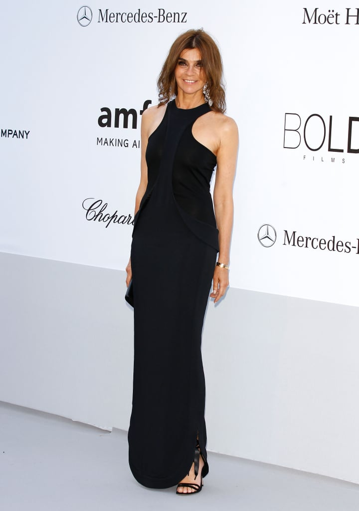 Carine Roitfeld looked chic in a black halter-style gown.