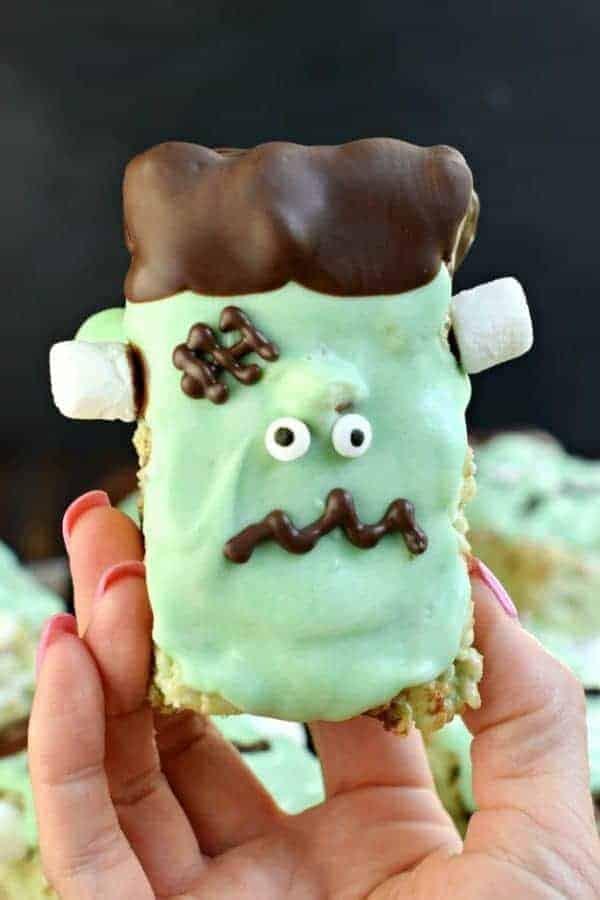 Frankenstein Mint Chocolate Chip Rice Krispies Treats