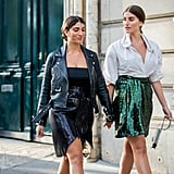 Sequin skirts, when paired with more casual tops like T-shirts and menswear shirting, is perfect for a casual outing—especially when you're twinning with a friend!