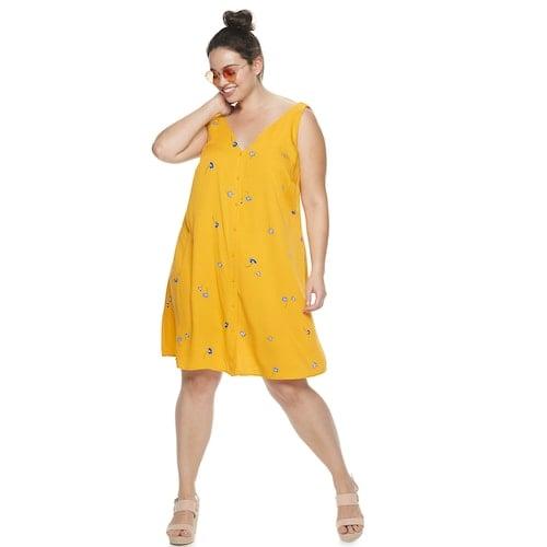 POPSUGAR Plus Size Button-Front Dress | Cheap Floral Print Dresses ...
