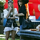 Sandra Bullock chatted with another mom dressed as pirates in LA.
