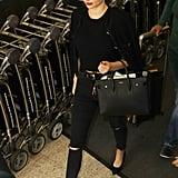 Miranda Kerr Carrying a Saint Laurent Sac De Jour Medium Leather Tote