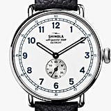A subtle touch of texture goes a long way on the Shinola Canfield Cannonball Watch ($1,000) which comes with a pebbled leather strap.