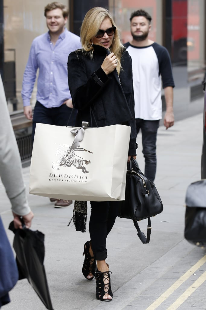 Kate Moss knows how to get the London look. In preparation for London Fashion Week, the model had a last-minute shopping spree at Burberry.