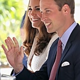 Prince William gave a wave with Kate Middleton on day two in Singapore.