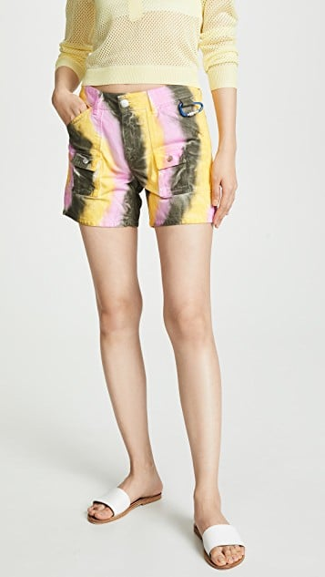 Ganni Color-Washed Denim Shorts