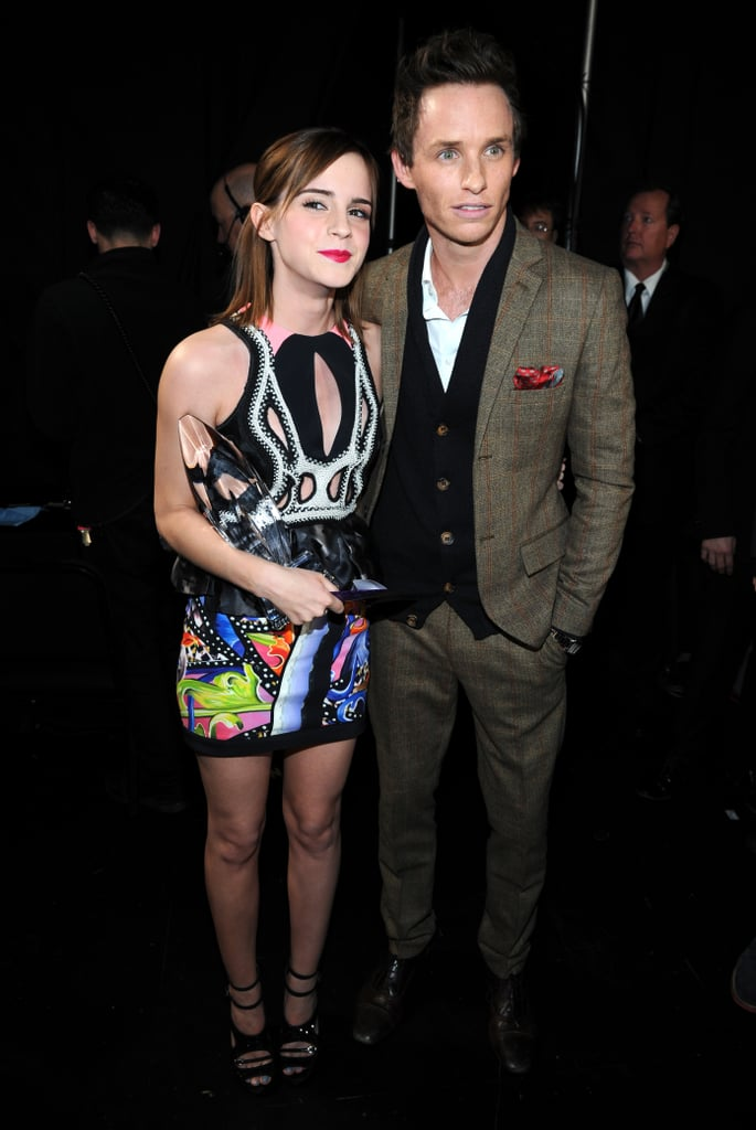 Emma Watson picked up an award for favorite dramatic movie actress at the People's Choice Awards in LA on Wednesday night. She wore a printed Peter Pilotto minidress and celebrated the win backstage with Eddie Redmayne, whom she worked with on My Week With Marilyn, and her Perks of Being a Wallflower costar Ezra Miller. Emma was just one of the many famous faces hanging out inside the Nokia Theatre, though she skipped the red carpet, where Julianne Hough, Taylor Swift, and others made their entrance. Check out all the People's Choice Awards red-carpet looks, and make sure to let us know what you think when you vote on Fab and Bella's polls.