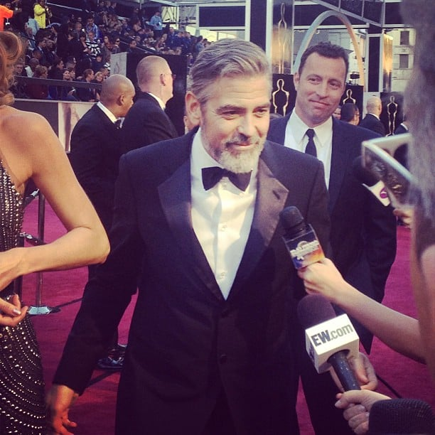 George Clooney worked the press line at the Oscars. Source: Instagram user popsugar