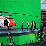 Henry Cavill filmed on a platform in front of a green screen in Vancouver.