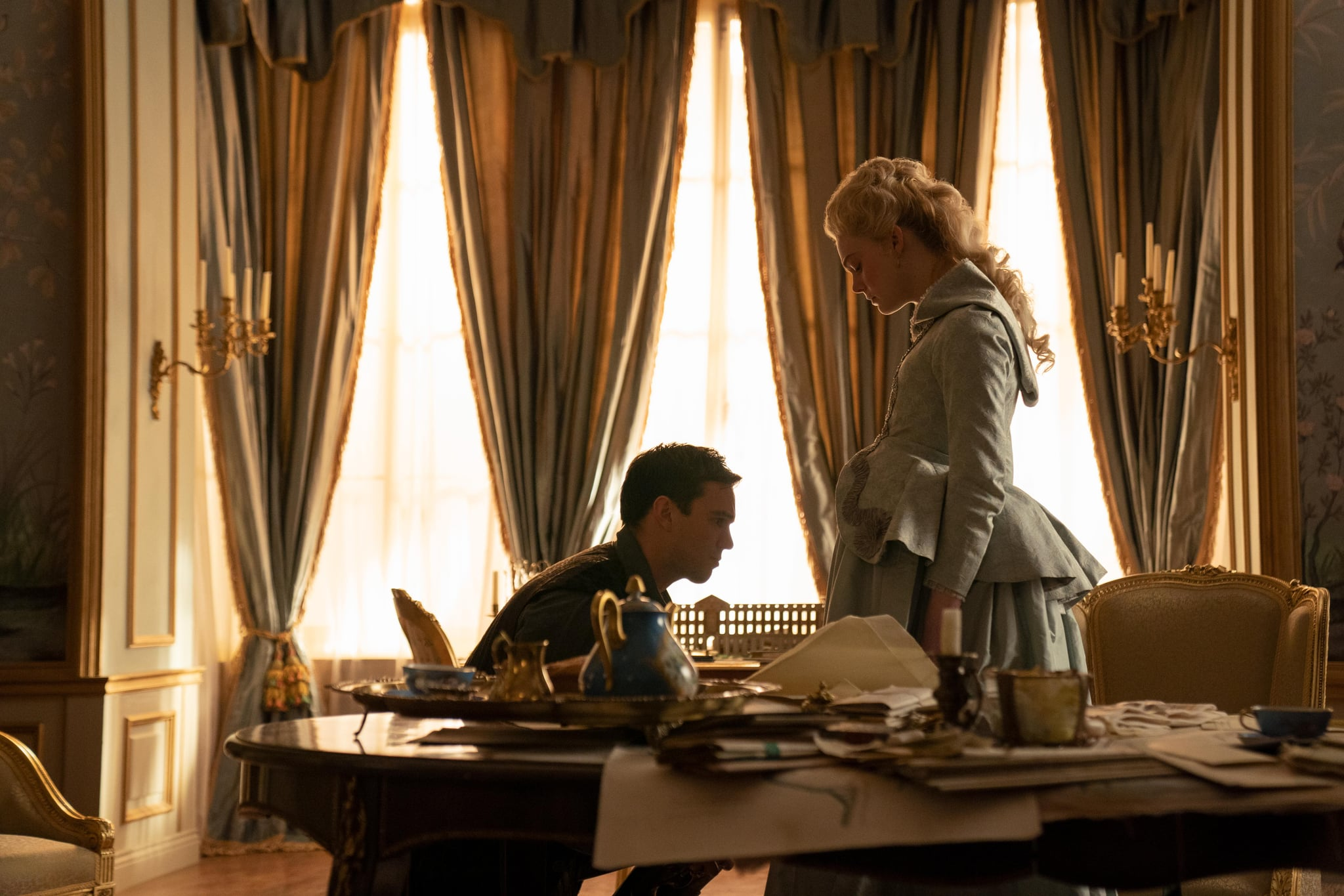 The Great - Episode 201 - Heads It's Me - 4 months after she launched a coup against her husband, a pregnant Catherine has won her war against Peter.  The fact that he loved Catherine so much and their unborn child did nothing to prevent him from taking his throne.  Peter (Nicholas Hoult) and Catherine (Elle Fanning), are shown.  (Photo by: Gareth Gatrell / Hulu)