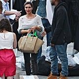 Kanye West was on set to give his girlfriend Kim Kardashian a hand.