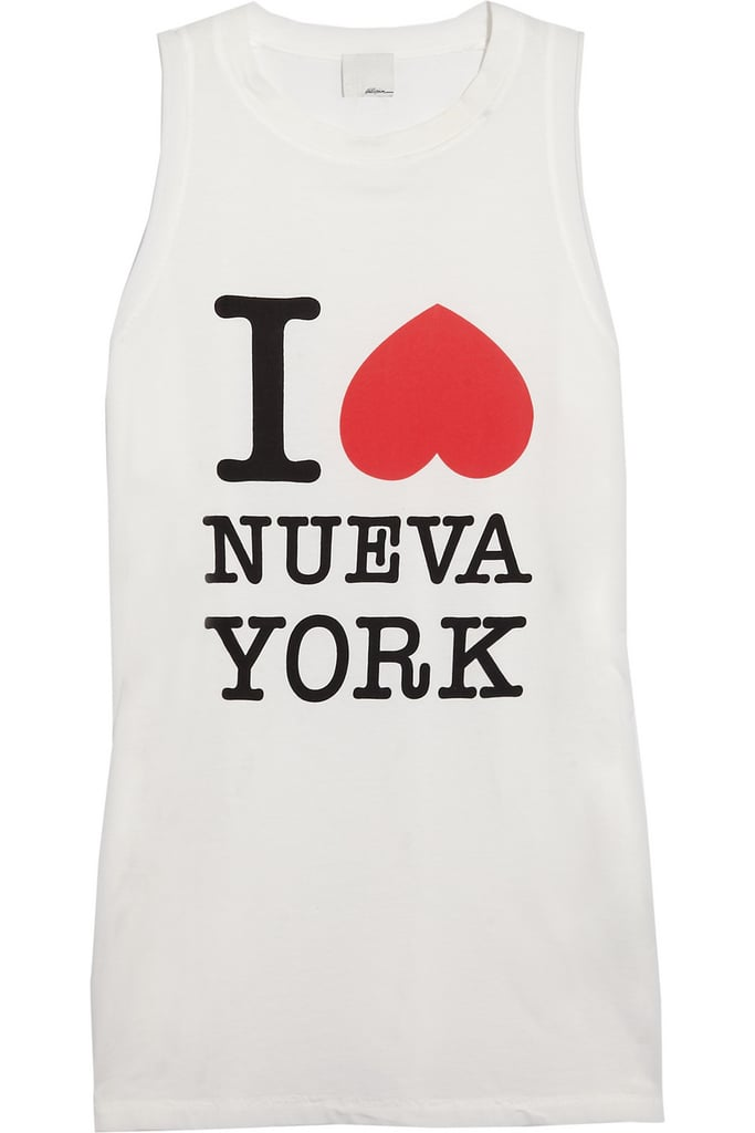 3.1 Phillip Lim's cotton jersey tank ($115) puts a fun twist on the classic I Heart New York shirt. Though it's a bit of a splurge for a cotton tank, I can't wait to pair it with some skinny black jeans and red lipstick. Next stop: the new Punk: Chaos to Couture exhibit at the Metropolitan Museum of Art. — Jen Michalski