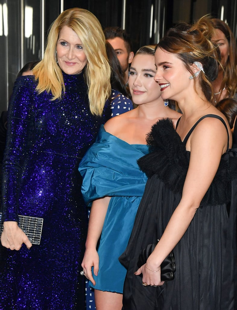 Pictured: Laura Dern, Florence Pugh, and Emma Watson at the Little Women world premiere.