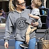 Hilary Duff shared a moment with her son, Luca, after grocery shopping in LA on Sunday.