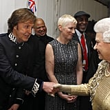 The queen shook hands with Sir Paul McCartney at the Diamond Jubilee Concert at Buckingham Palace.